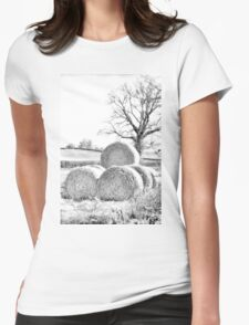 Hay Bales In Countryside Womens Fitted T-Shirt