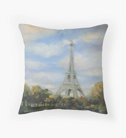 Eifel Tower, oil on canvas Throw Pillow