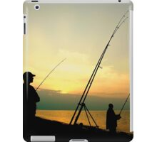 Fishing from the Beach at sunset. iPad Case/Skin
