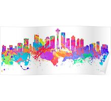 Watercolor art print of the skyline of Seattle United States Poster