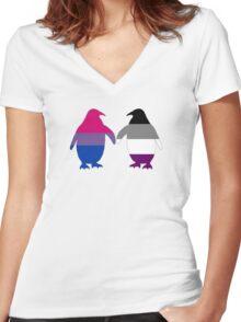 Bi Ace Pride Penguins Women's Fitted V-Neck T-Shirt