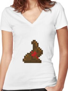 Pixel Bunny Women's Fitted V-Neck T-Shirt