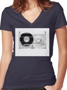 cassette  illustration - black and white tape  Women's Fitted V-Neck T-Shirt