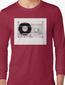 cassette  illustration - black and white tape  Long Sleeve T-Shirt
