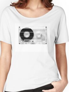 cassette  illustration - black and white tape  Women's Relaxed Fit T-Shirt