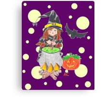 Halloween witch 1 on a fun purple background Canvas Print