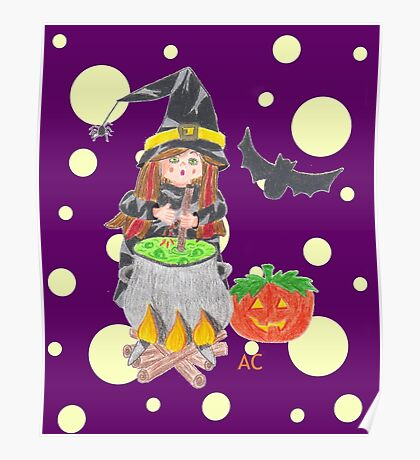 Halloween witch 1 on a fun purple background Poster