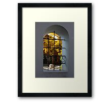 Autumn Through the Fence Window Framed Print