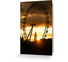 Framing the Sunset in London - the London Eye and Big Ben  Greeting Card