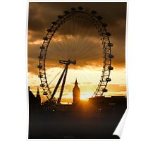 Framing the Sunset in London - the London Eye and Big Ben  Poster