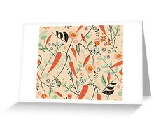 Mid Century Style Brushstroke Flowers Greeting Card