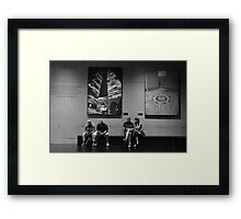 Texting...., Contemplating.... Framed Print