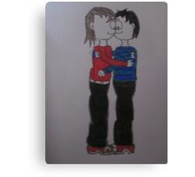 boy and girl kissing cartoon Canvas Print