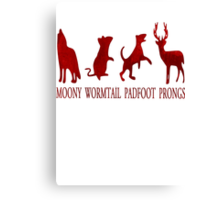 Moony, Wormtail, Padfoot and Prongs Canvas Print