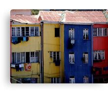 valparaiso blue and yellow houses Canvas Print