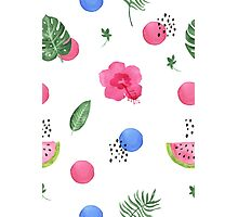Hibiscus and dots Photographic Print