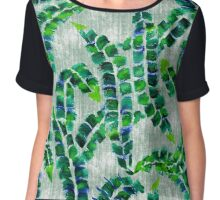 Hand-Painted Banana Leaves Green Botanical Plant Chiffon Top