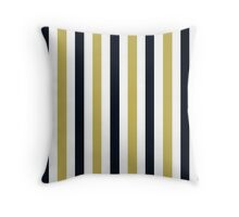 Navy Gold and White-Striped Throw Pillow