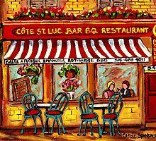 SIDEWALK CAFE MONTREAL ROTISSERIE COTE ST. LUC BBQ by Carole  Spandau