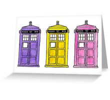 Watercoloured-Multi-Coloured TARDISes. Greeting Card