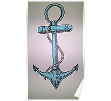 blue anchor canvas painting Poster