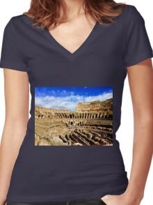 Roman Coliseum  Women's Fitted V-Neck T-Shirt
