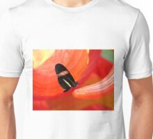 Red Striped Butterfly on Red Glass Unisex T-Shirt