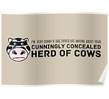 Cunningly Concealed Herd of Cows Poster