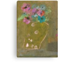 Jug with pink dots and flowers Canvas Print