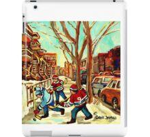 HOCKEY NEAR ROW HOUSES MONTREAL WINTER SCENES iPad Case/Skin