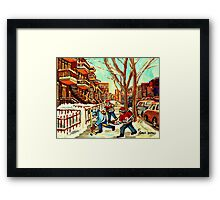 HOCKEY NEAR ROW HOUSES MONTREAL WINTER SCENES Framed Print
