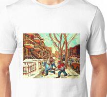 HOCKEY NEAR ROW HOUSES MONTREAL WINTER SCENES Unisex T-Shirt
