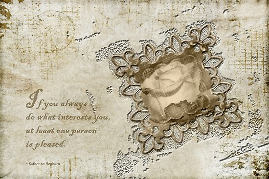 Inspired by quote of wisdom using die cut of a rose and grunge. by Sandra Foster