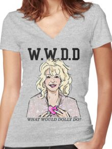 DOLLY PARTON Women's Fitted V-Neck T-Shirt