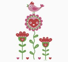 Happy - flower birds and hearts by Andi Bird