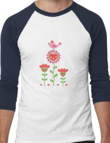 Happy - flower birds and hearts T-Shirt