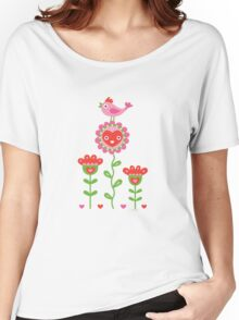 Happy - flower birds and hearts Women's Relaxed Fit T-Shirt