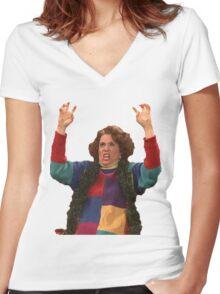 Kristen Wiig: freakin excited  Women's Fitted V-Neck T-Shirt