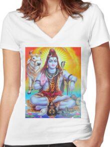 Shiva and Nandi Women's Fitted V-Neck T-Shirt