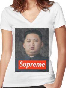 Kim Jong Un Supreme Women's Fitted V-Neck T-Shirt