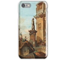 Giovanni Paolo Panini Italy Capriccio with figures at the Roman ruins and the Arch of Constantine iPhone Case/Skin