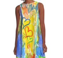 Watercolor Abstract Hearts Colorful Random Brushstrokes A-Line Dress