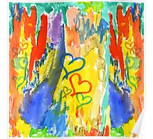 Watercolor Abstract Hearts Colorful Random Brushstrokes Poster