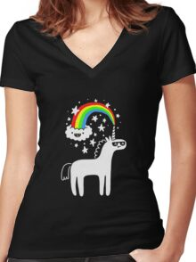 rainbow horse Women's Fitted V-Neck T-Shirt