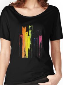 Rainbow of Cats Whimsical Animals Watercolor T-shirt Women's Relaxed Fit T-Shirt
