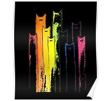 Rainbow of Cats Whimsical Animals Watercolor T-shirt Poster