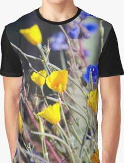 Blue and Yellow Wild Flowers Graphic T-Shirt
