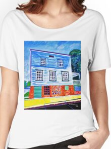 Historic house built 1844 Richmond Wisconsin USA Women's Relaxed Fit T-Shirt
