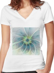 Flourish Fantasy abstract and modern Fractal Art Women's Fitted V-Neck T-Shirt