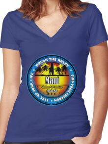Longer Night..Fun Day At The Beach Women's Fitted V-Neck T-Shirt